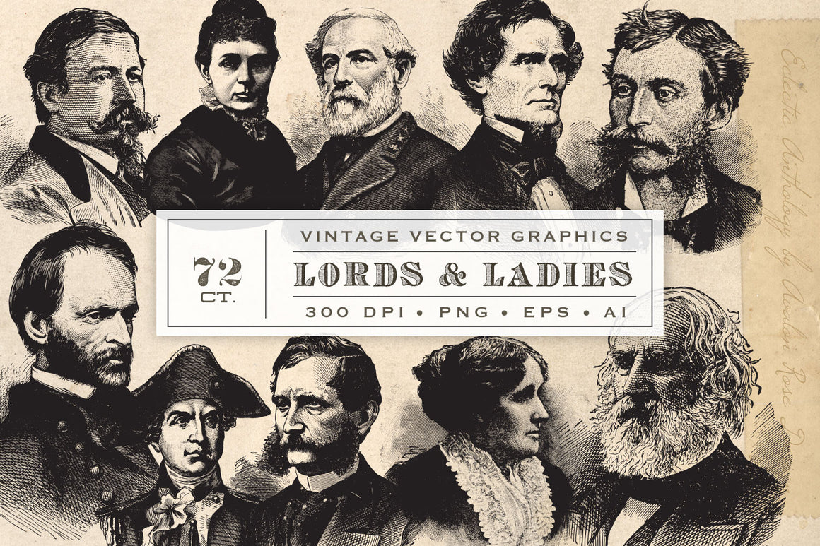 Vintage Lords and Ladies Vector Graphics Vol. 2