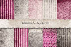 Vintage Printable Papers - Magenta Damask