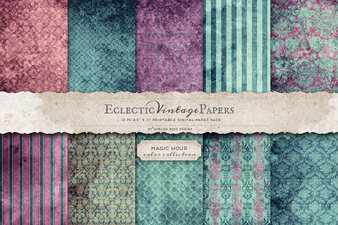 Vintage Printable Papers - Magic Hour