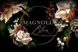 Magnolia Bloom Flower & Monogram Clipart Collection