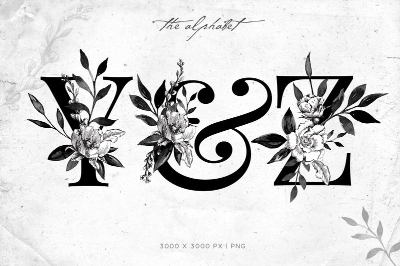 Misted Ink Floral Graphics Collection