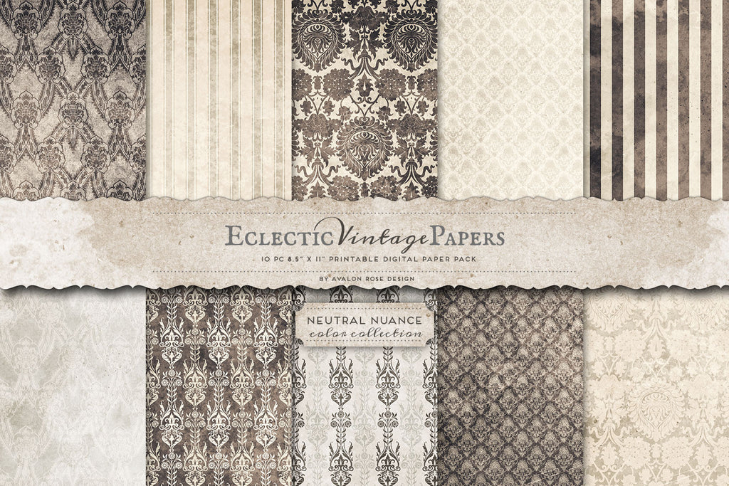 Vintage Printable Papers - Neutral Nuance