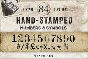 Vintage Hand Stamped Numbers and Symbols