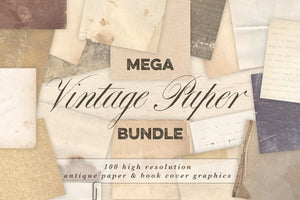Vintage Paper & Book Cover Mega Bundle