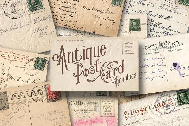 90+ Antique Postcard Graphics