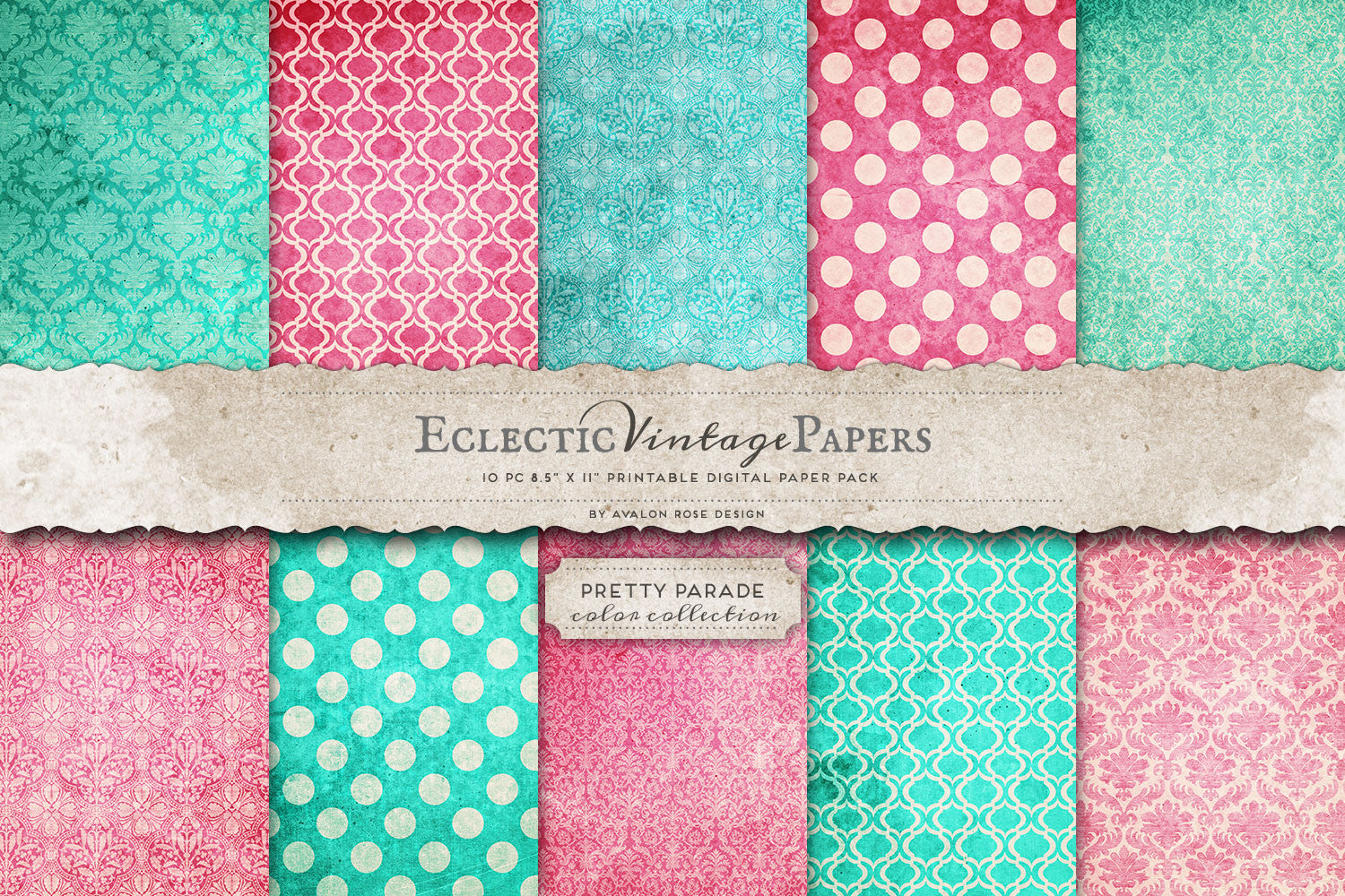 Vintage Printable Papers - Pretty Parade