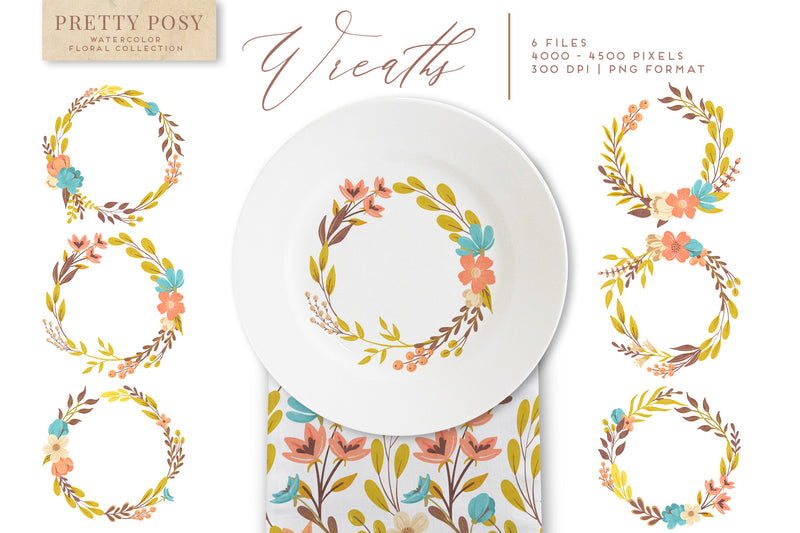Pretty Posy Watercolor Flower Graphics Collection