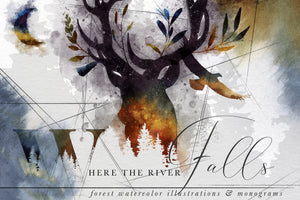 River Falls Forest Watercolors and Monogram Graphics