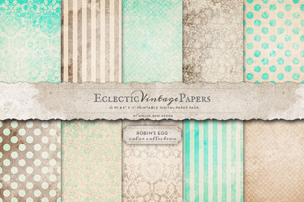 Vintage Printable Papers - Robin's Egg