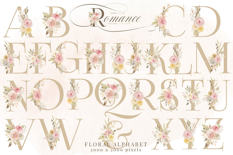 Rose Gold Romance Watercolor Floral Collection