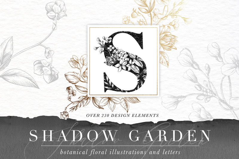 Shadow Garden Botanical Illustrations and Monograms