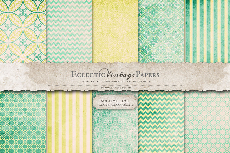Vintage Printable Papers - Sublime Lime