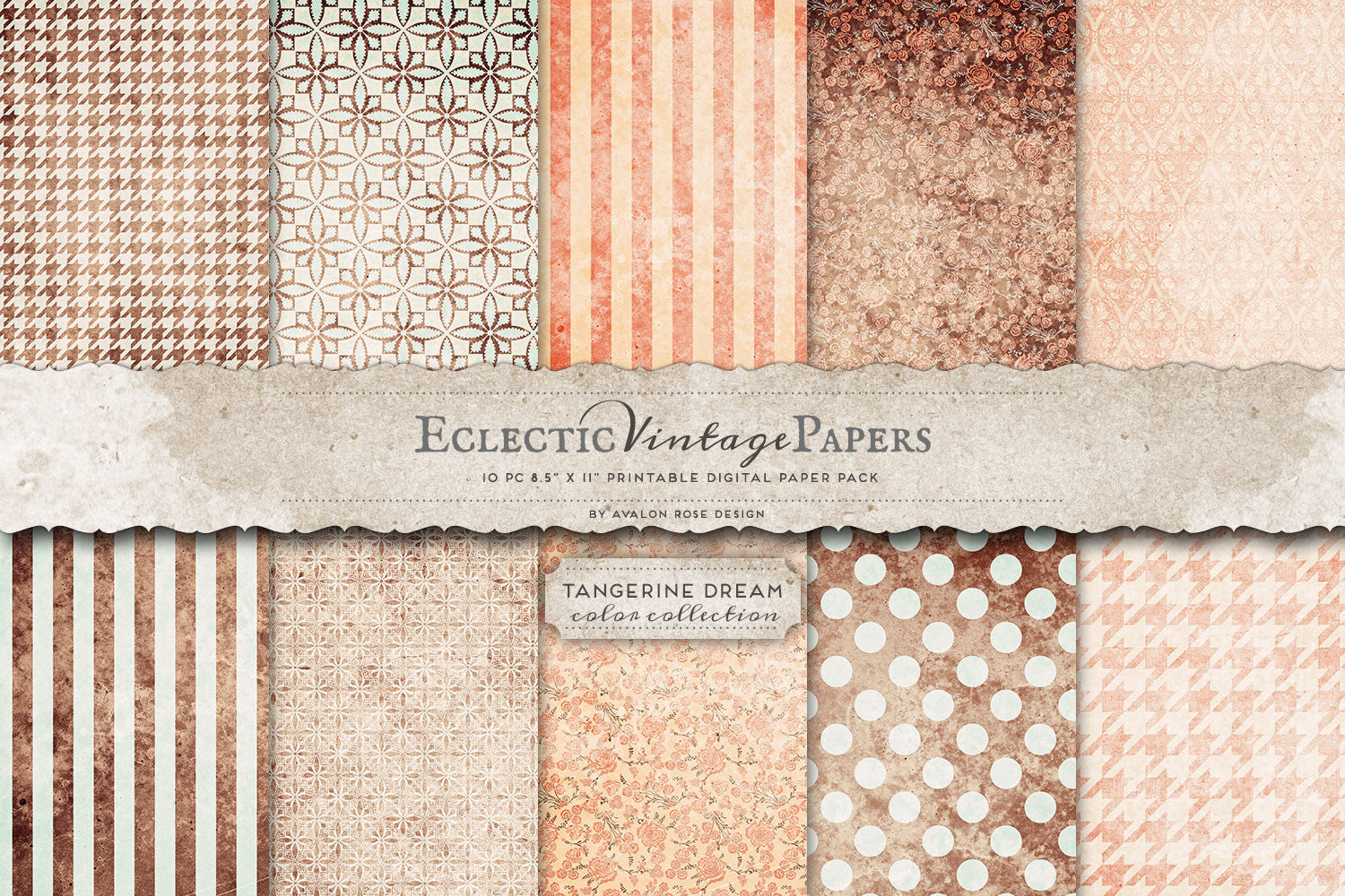 Vintage Printable Papers - Tangerine Dream