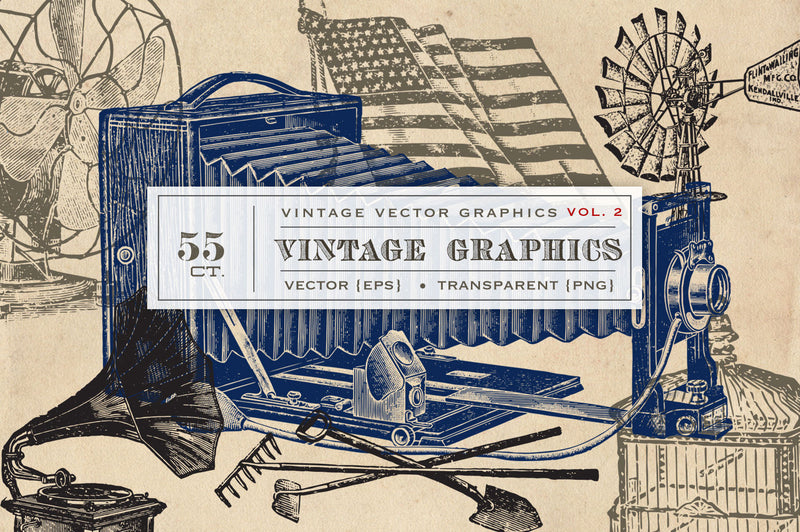 55 Vintage Vector Graphics - Vol.2