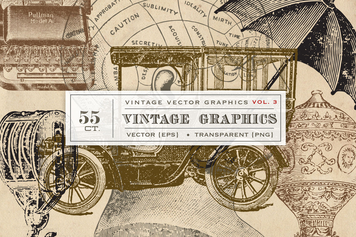 55 Vintage Vector Graphics - Vol.3