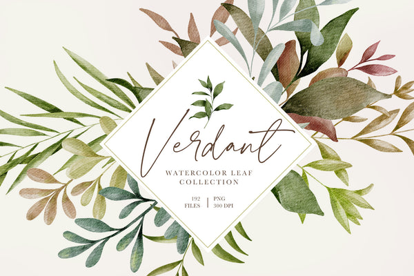 Verdant Watercolor Leaves & Greenery