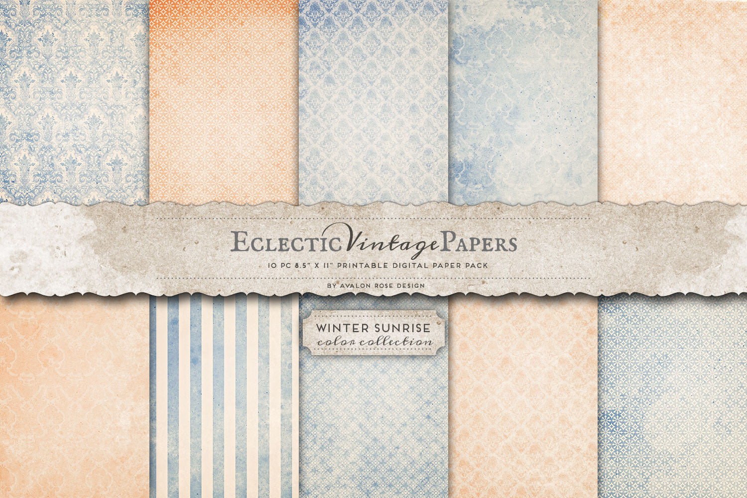 Vintage Printable Papers - Winter Sunrise