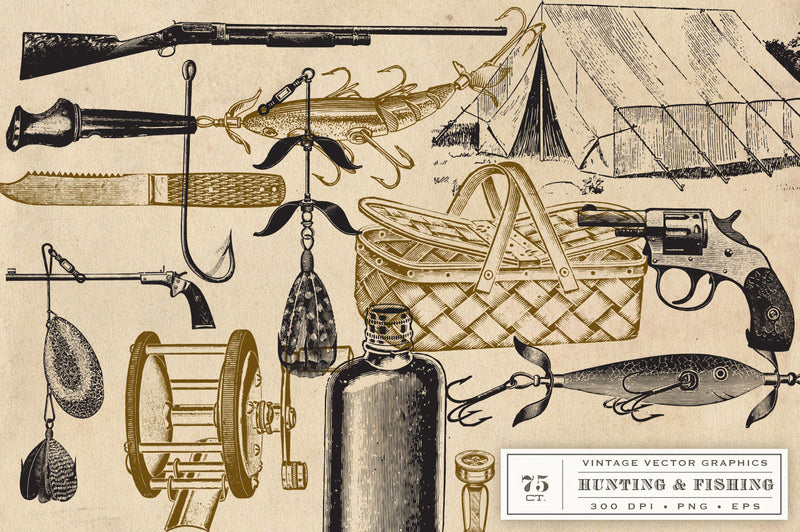 Vintage Hunting Fishing and Camping Vector Graphics