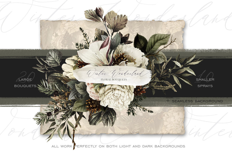 Winter Wonderland Floral Bouquet Graphics