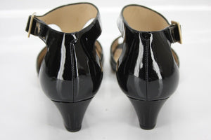 Jimmy Choo Black Patent Leather Treat T Strap Demi Wedge Sandal SZ 35.5 New $675