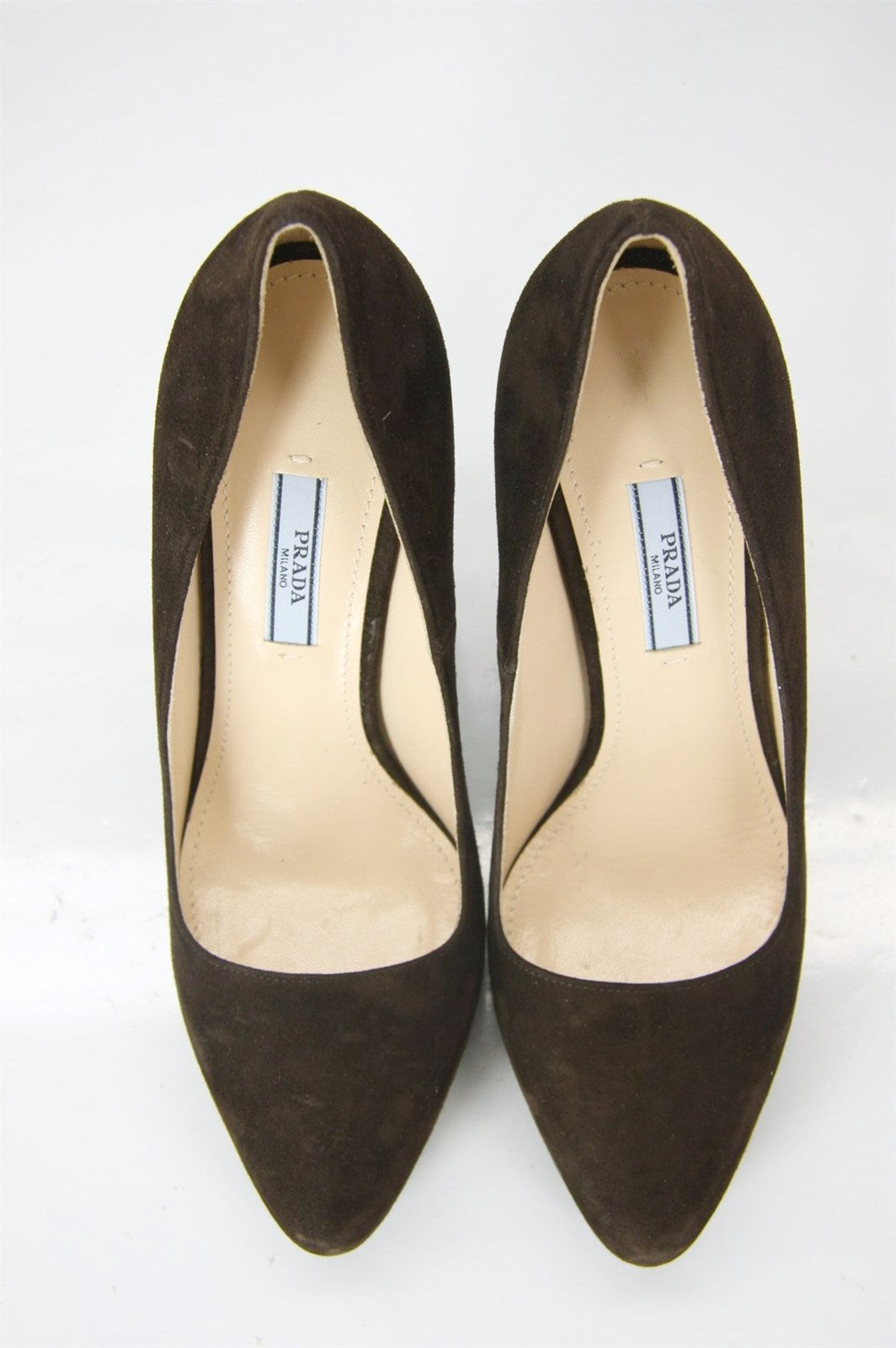 Prada Classic Brown Suede Leather Hidden Platform Heel Pump Size 39 Toe NIB $750