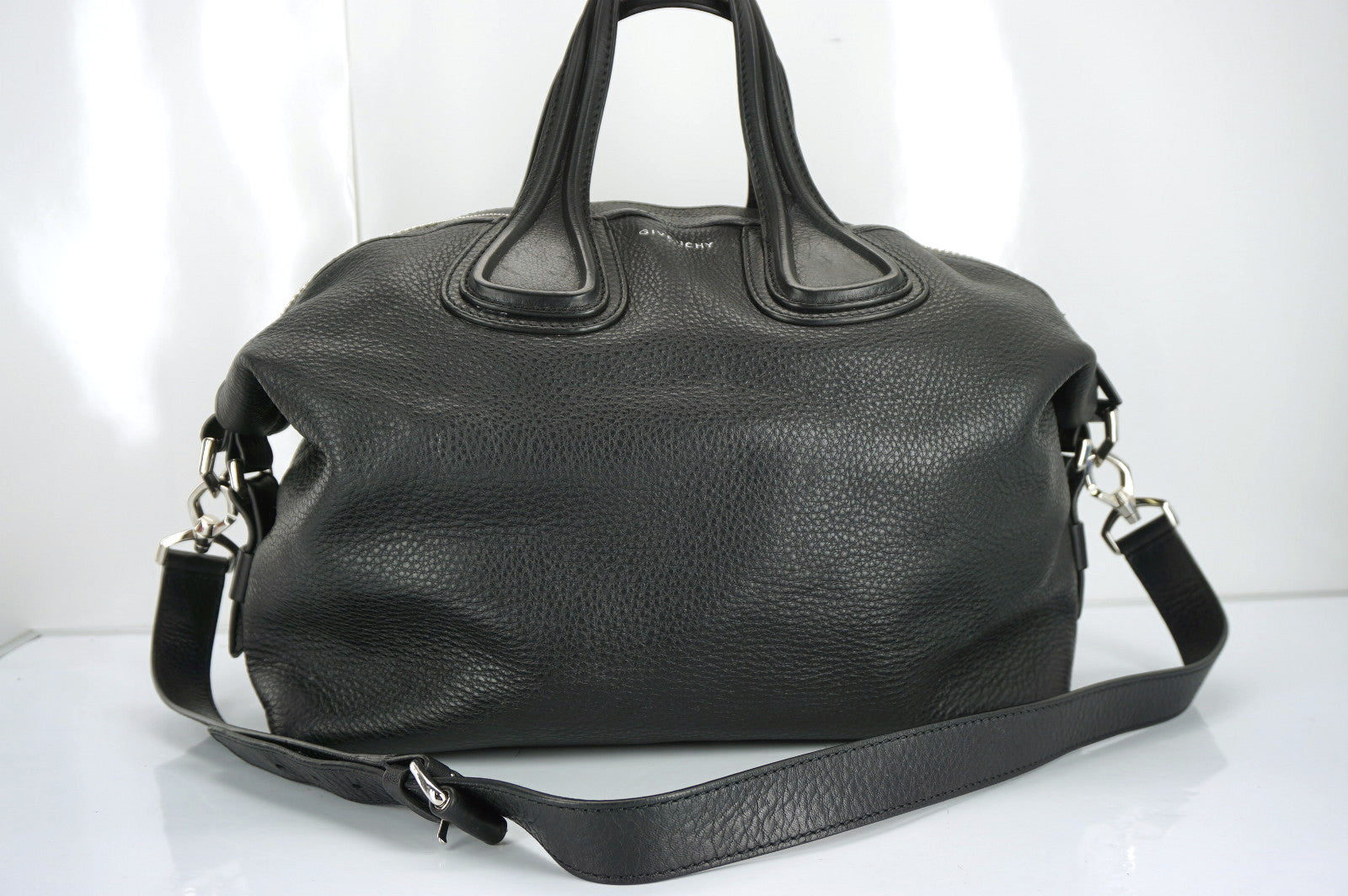 Givenchy Black Leather Nightengale Medium Waxy Satchel Shoulder Bag $2450 New
