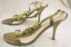Kate Spade Lydia Metallic Strappy Green stone Sandals SZ 5.5 High Heels $298