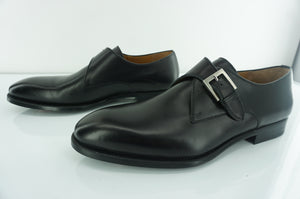Magnanni Brodie Black Leather Monk Strap Loafers Size 12 slip on $385 NIB