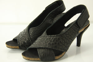 Pedro Garcia Black Pebbled Leather Maggie Slingback Sandals Size 35 Strappy New
