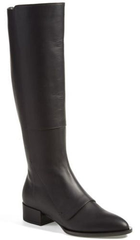 Vince Yilan Black Leather Pointy Toe Riding Boots Size 6 heel $695 slim calf NIB