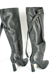 Derek Lam Black Leather 'Tonya' Wrap Around Strap Tall Boot SZ 37.5 New $1325