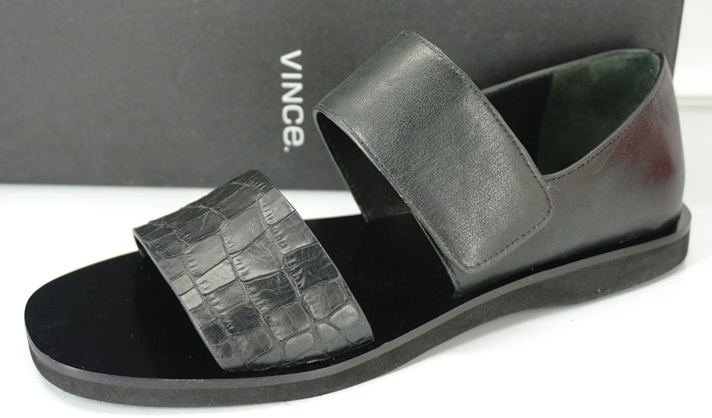 Vince Black Croc Leather Salina Flat Wide Strappy Sandals Size 6 NIB $275 Womens