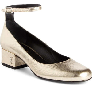 NIB Saint Laurent Babies Ankle Strap Pumps SZ 36.5 gold Leather YSL $895