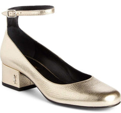 Saint Laurent Gold Leather Babies Ankle Strap Logo Pumps Size 37.5 NIB YSL $895