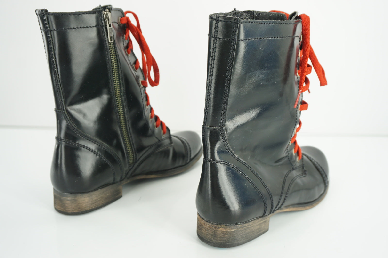 Steve Madden Troopale Black Leather Ankle Boots SZ 7.5 Military $130 Combat