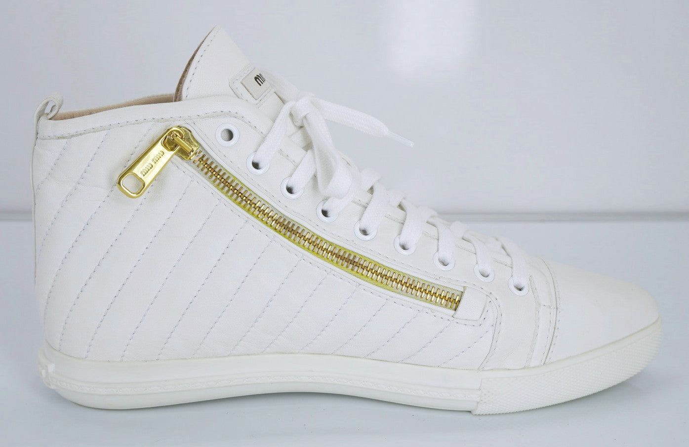 Miu Miu White Leather High Top Zipper Sneakers Size 38.5 New $650