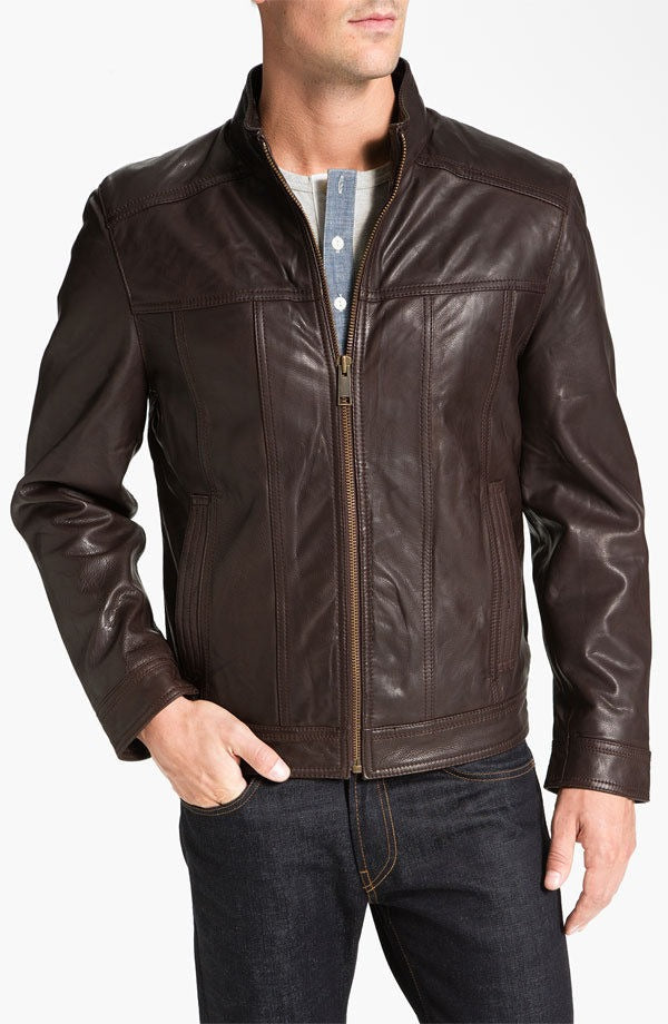 Andrew Marc Brown Leather Cruz Biker Jacket size XL extra large NWT Bomber $430