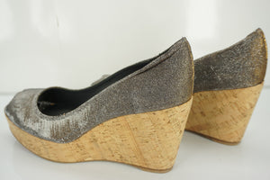 Stuart Weitzman Anna Corkswoon Glitter Wedge Heel Pumps SZ 11.5 New $398