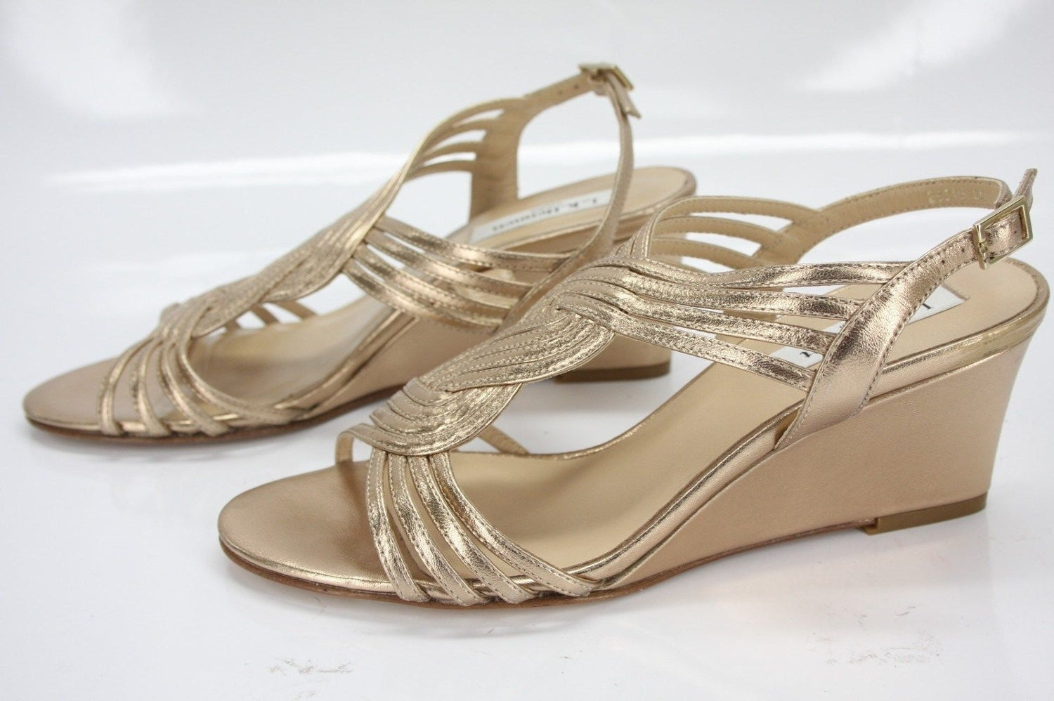 L.K. Bennett Metallic Gold Leather Dunes Caged Strappy Wedge Sandals size 36 New