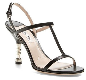 Miu Miu Black Leather Screw Bolt Heel T Strappy Sandal Size 40 10 New $690