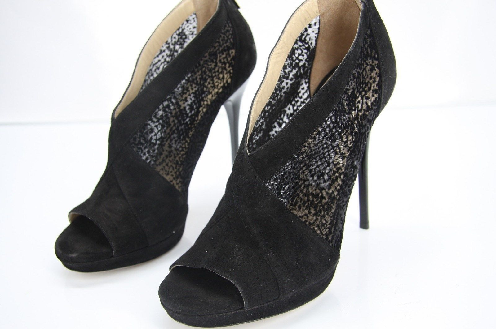 Jimmy Choo Vivid Black Suede Mesh booties SZ 38 New Verrel Open toe $890