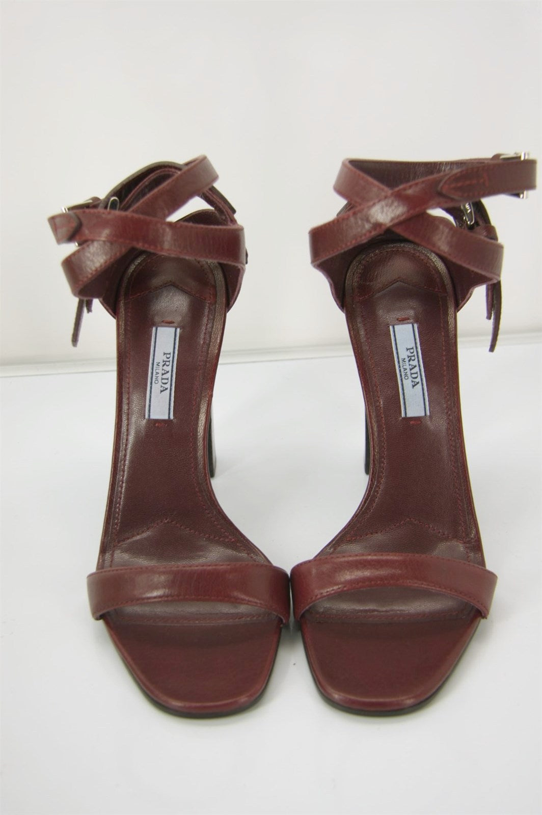 Prada Red Ganato Leather Ankle Strap High Heel Sandals Size 38.5 NIB $790 Womens