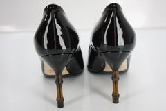 Gucci Black Patent Kristen Pointy Toe Bamboo Heels Pumps Size 35 New $670 Womens