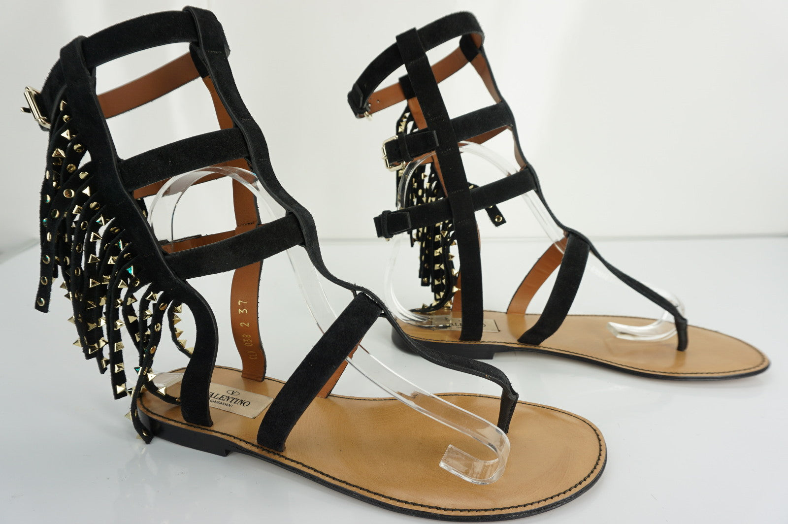 Valentino Garavani Black Leather Rockstud Gladiator Flat Sandals SZ 37 NIB $1675
