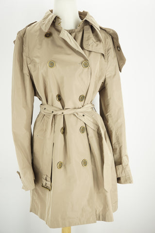 Burberry Womens Balmoral Trench Coat Beige Nylon Size 14