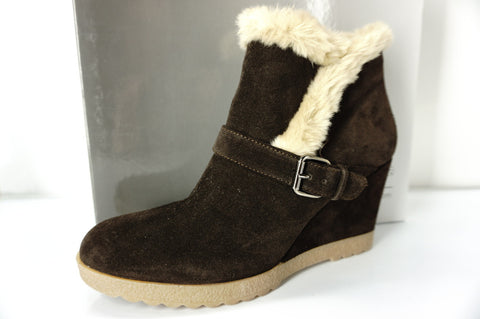 Aquatalia by Marvin K Brown Suede Carlotta Wedge ankle Boots Size 41 11 NIB $398