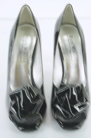 New Ron White Black Patent Victoria Bow Toe Pumps Size 38.5 High Heels $585 Day