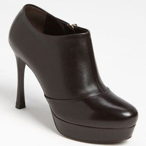 Saint Laurent Brown Leather Tribute Ankle Boot size 41 11 Platform $895 YSL Yves