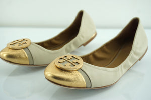 Tory Burch Minnie Cap-Toe Beige Gold Leather Cap Toe Ballet Flats Size 8.5 New