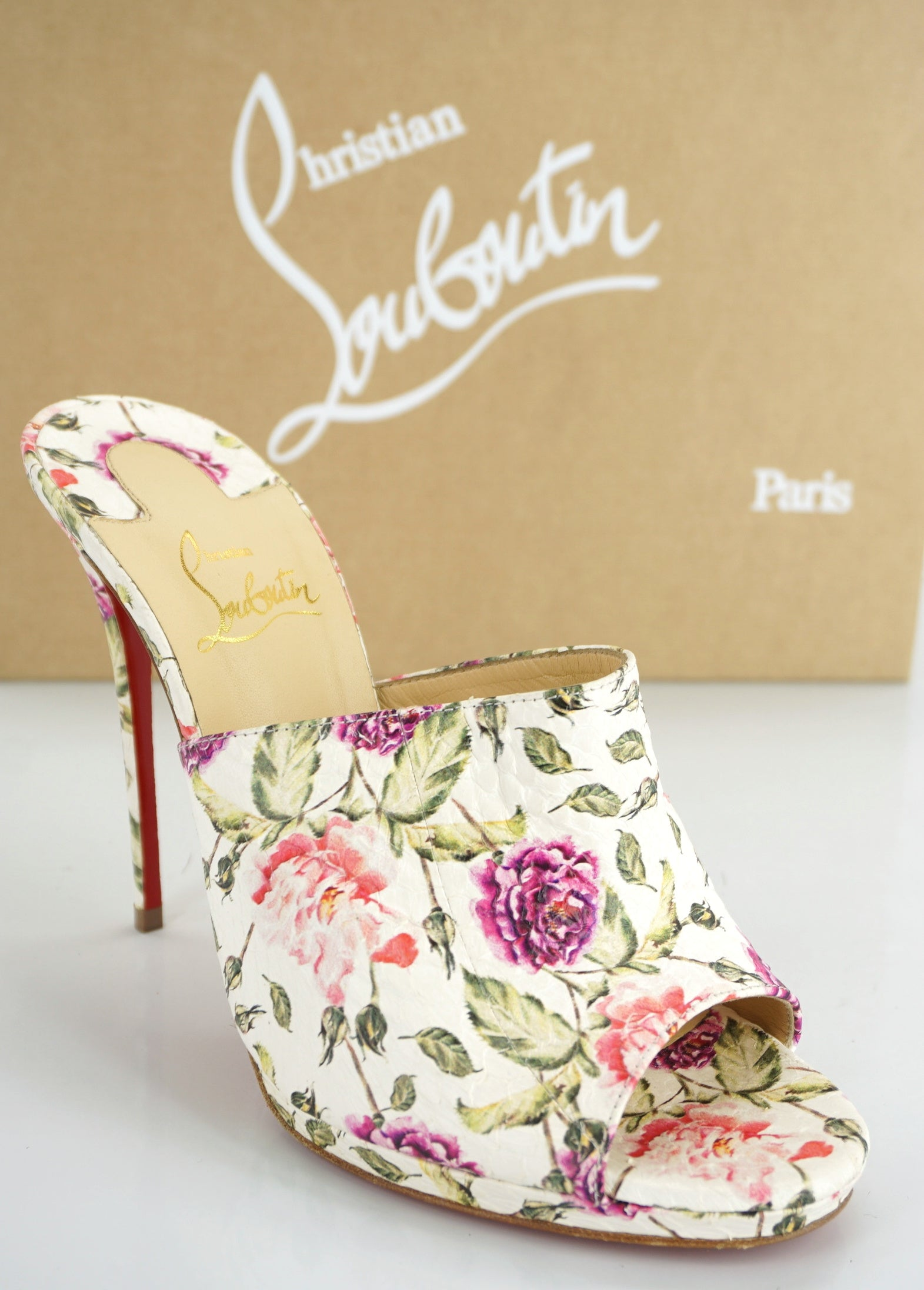 Christian Louboutin Floral Pigalle Pigamule Snakeskin Mule Size 38.5 New $1195